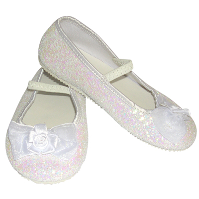 Girls Children's Sparkly White Glitter Bridesmaid Party Shoes