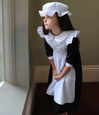 Girls Childrens Victorian Millie Maid Fancy Dress Costume