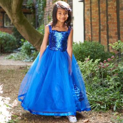 4fe1042af Girls Kingfisher Blue Sequin Ballgown Bridesmaid Party Dress