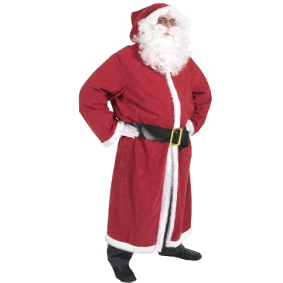 Men's Adult Complete Father Christmas Santa Claus Kris Kringle Adult Gown Coat & Wig, Beard & Gloves