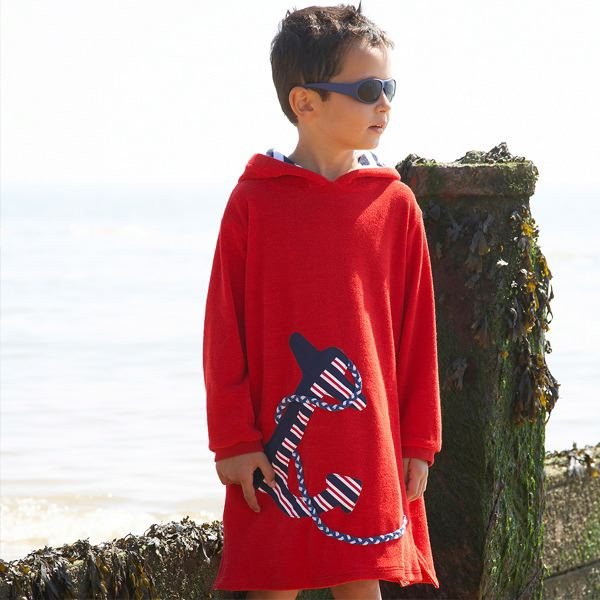 Mitty James Children's Boys Towelling Long Hooded Beach Top – Appliqué Red Anchor