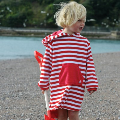 Mitty James Children's Girls & Boys Towelling Long Hooded Beach Top – Red / White Stripe