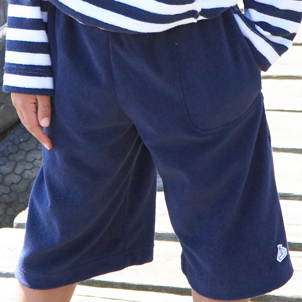 Mitty James Children's Girls & Boys Towelling Long Shorts with Pockets – Navy Plain
