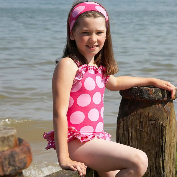 Mitty James Children's Girls Swimsuit Swimming Costume – Pink Retro Spot Frilly