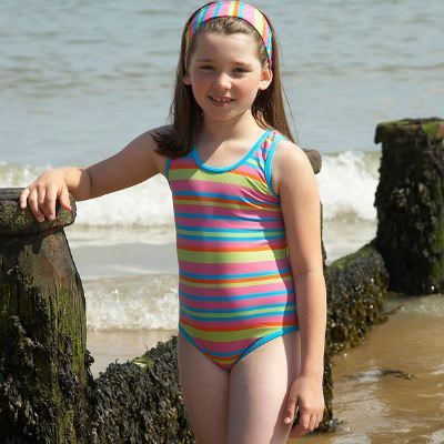 Mitty James Children's Girls Swimsuit Swimming Costume – Tropical Multi Stripe with Racer Back
