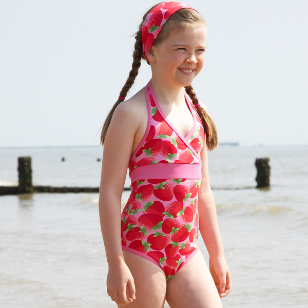 c8a903c6546e9 Mitty James Children's Girls Swimwear Swimsuit Swimming Costume -  Strawberry Halter Neck