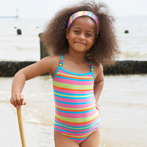 b007f73d41742 Mitty James Children's Girls Swimwear Swimsuit Swimming Costume – Tropical  Multi Stripe with Beads