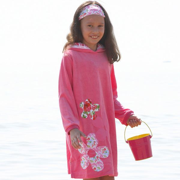 Mitty James Children's Girls Towelling Long Hooded Beach Top – Appliqué Floral Bubblegum Pink