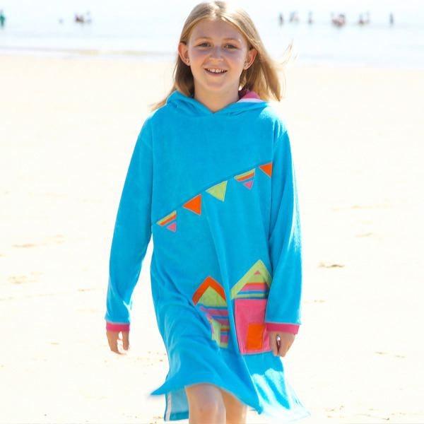 Mitty James Children's Girls Towelling Long Hooded Beach Top – Appliqué Turquoise Beach Huts
