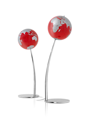 Modern Stem Red Lamp World Globe